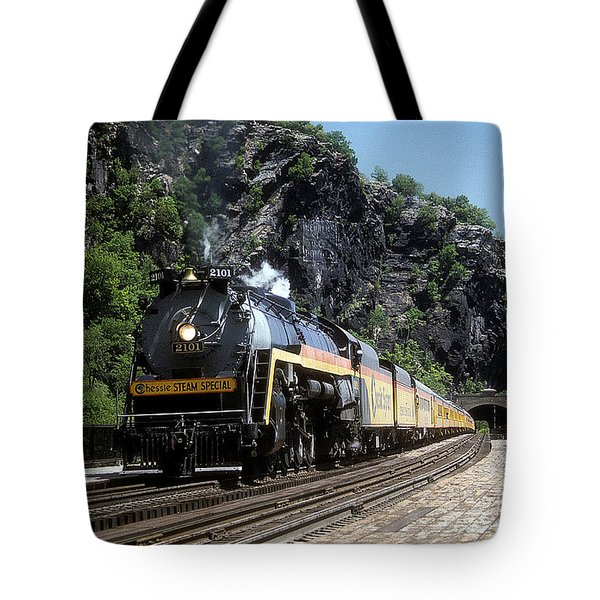 Tote Bag featuring the photograph Chessie Steam Special At Harpers Ferry by ELDavis Photography