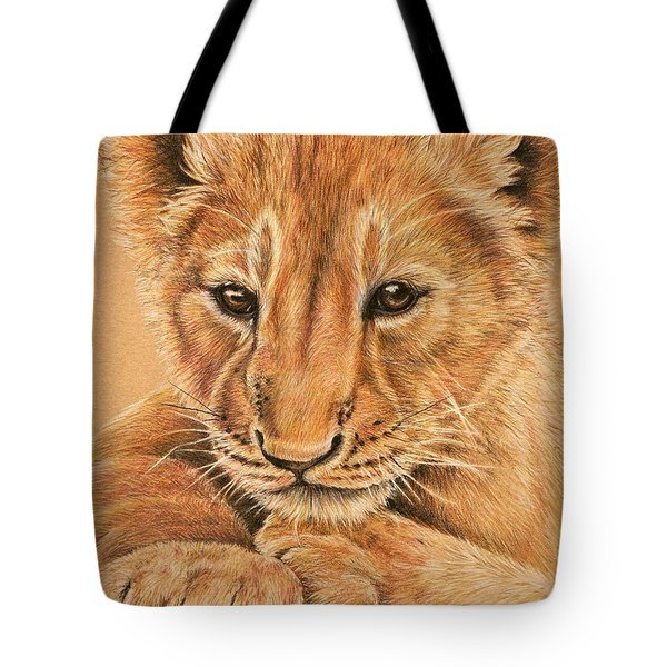 Tote Bag featuring the drawing cub by Heidi Kriel
