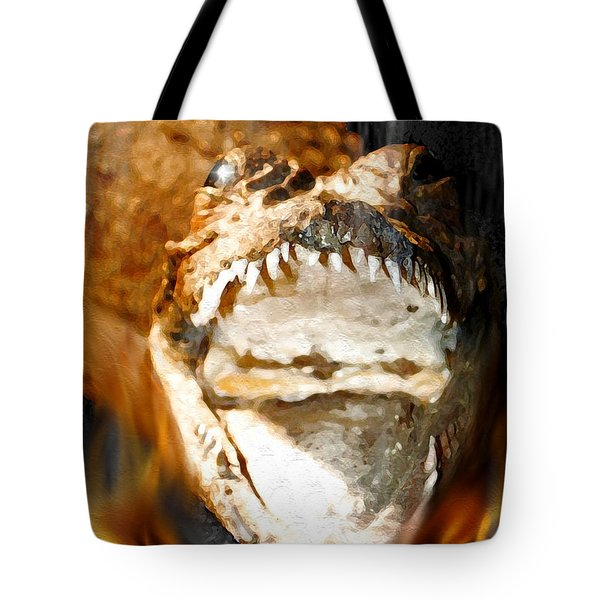 Tote Bag featuring the digital art Cuban Crocodile by Daniel Janda