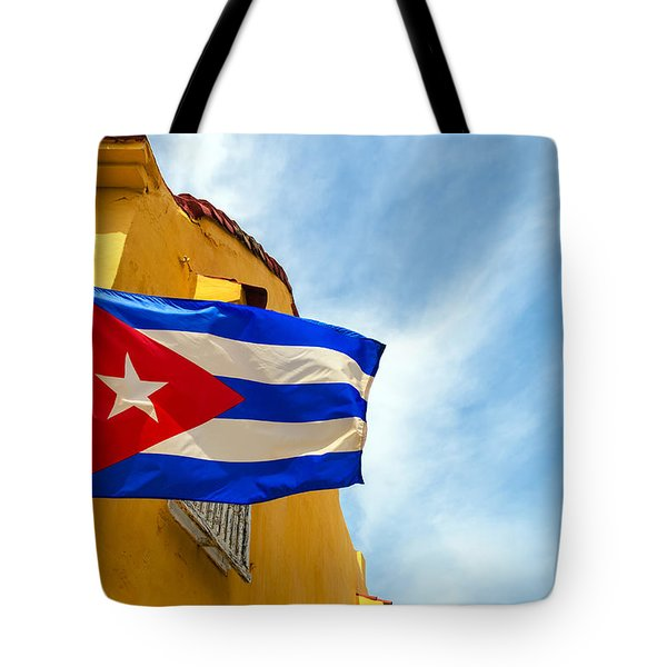 Cuban Flag And Colonial Buildings Tote Bag
