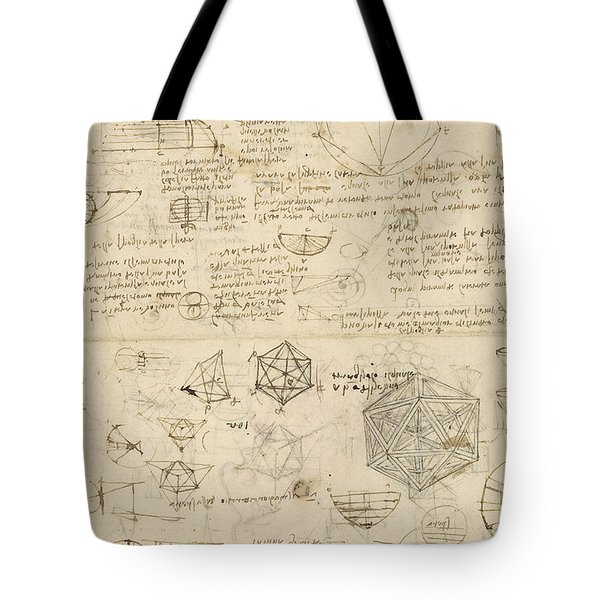 Cube Sphere Icosahedron Mention Of Known Project For Telescope  Tote Bag by Leonardo Da Vinci
