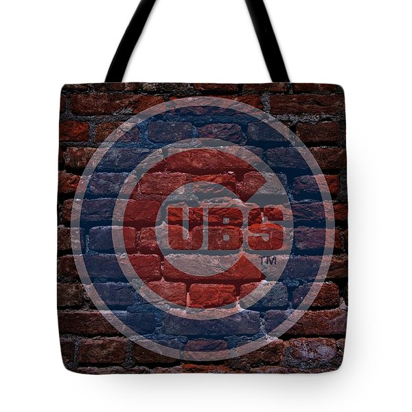Cubs Baseball Graffiti On Brick  Tote Bag