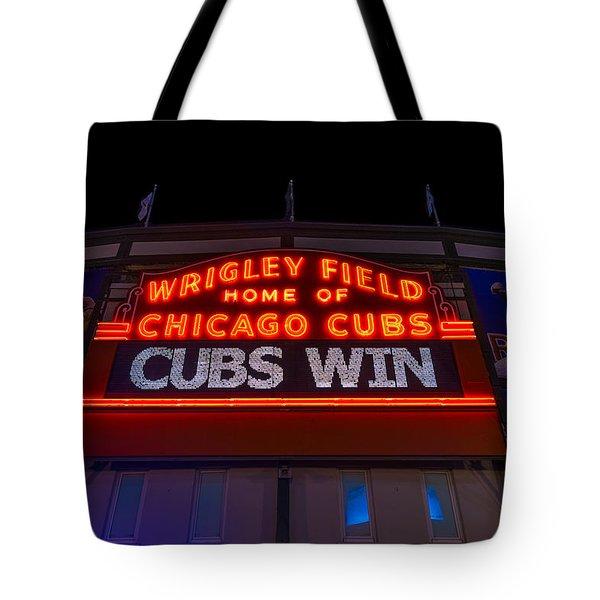 Cubs Win Tote Bag by Steve Gadomski