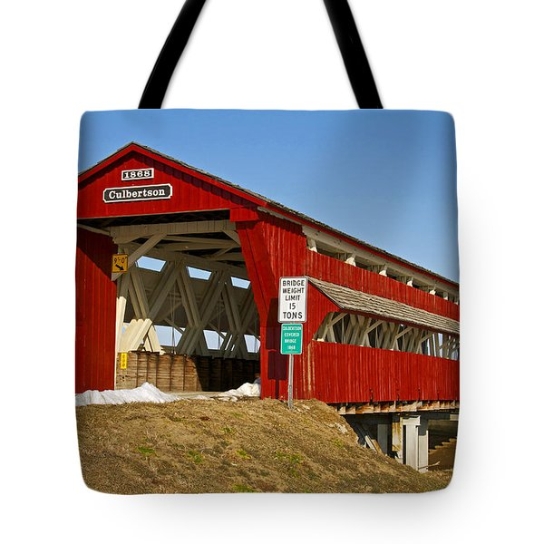 Culbertson Or Treacle Creek Covered Bridge Tote Bag by Jack R Perry