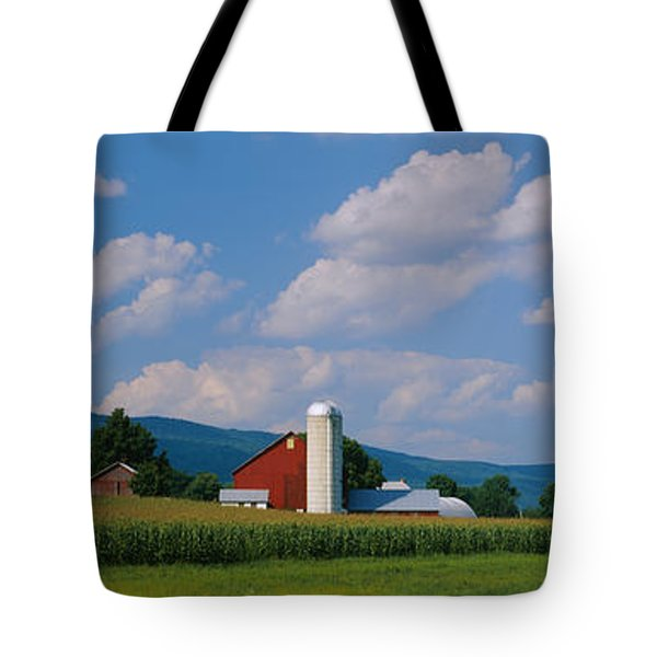 Cultivated Field In Front Of A Barn Tote Bag