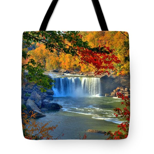 Tote Bag featuring the photograph Cumberland Falls In Autumn 2 by Mel Steinhauer