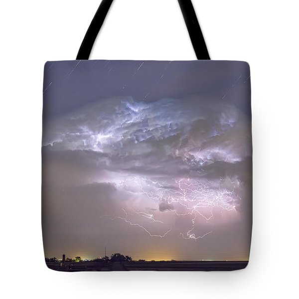 Cumulo-nimbus Lightning Storm And Star Trails Above Tote Bag by James BO  Insogna