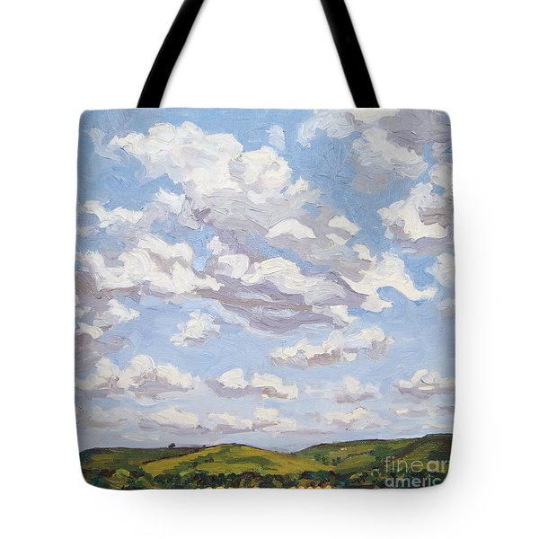 Tote Bag featuring the painting Cumulus Clouds Over Flint Hills by Erin Fickert-Rowland