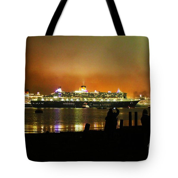 Tote Bag featuring the photograph Cunard's 3 Queens by Terri Waters