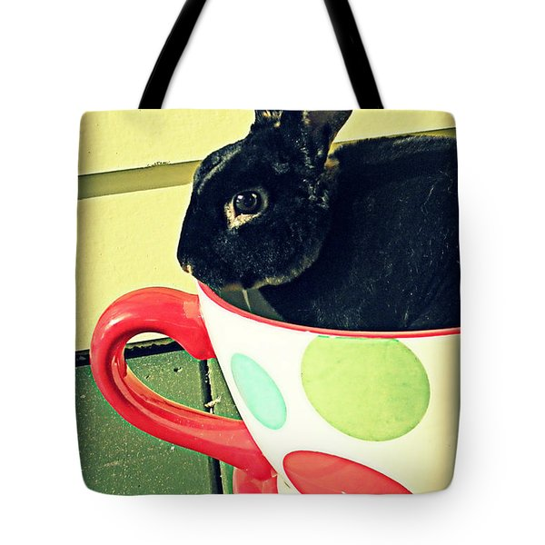 Cup O' Rabbit Tote Bag by Valerie Reeves