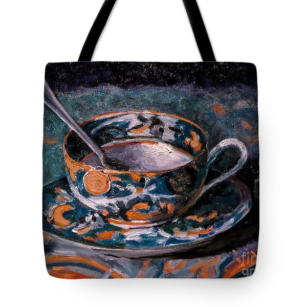 Cup Of Tea And Sugar Cubes Tote Bag