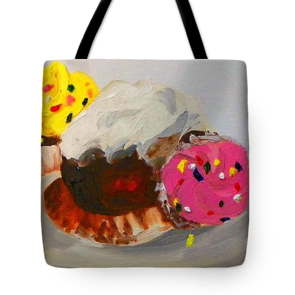 Tote Bag featuring the painting Cupcakes by Marisela Mungia