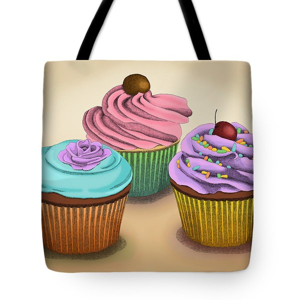 Tote Bag featuring the drawing Cupcakes by Meg Shearer
