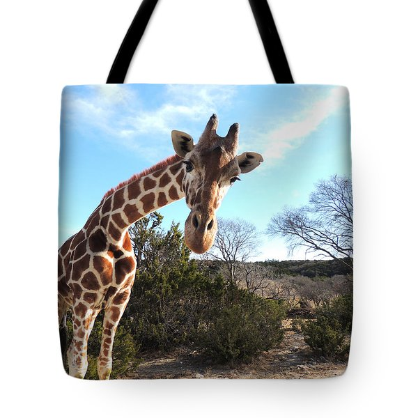 Curious Giraffe At Fossil Rim Wildlife Center Tote Bag