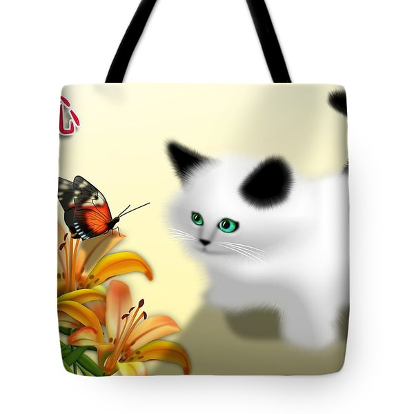 Curious Kitty And Butterfly Tote Bag