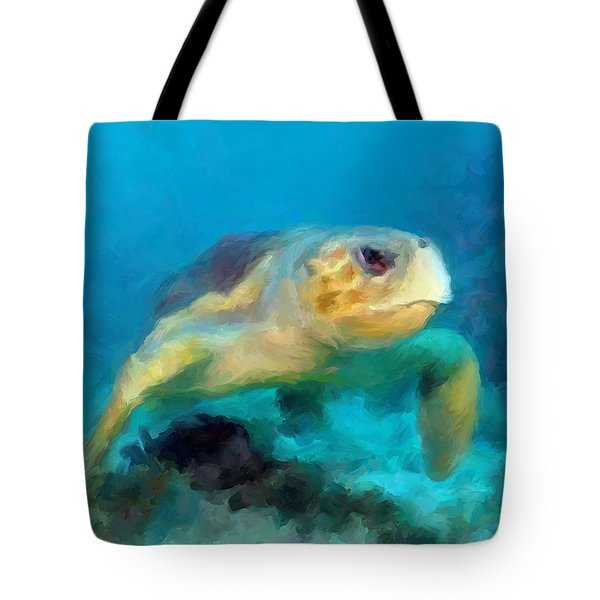 Tote Bag featuring the mixed media Curious Sea Turtle by David  Van Hulst