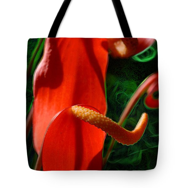 Tote Bag featuring the digital art Curled Red Anthurium by E B Schmidt