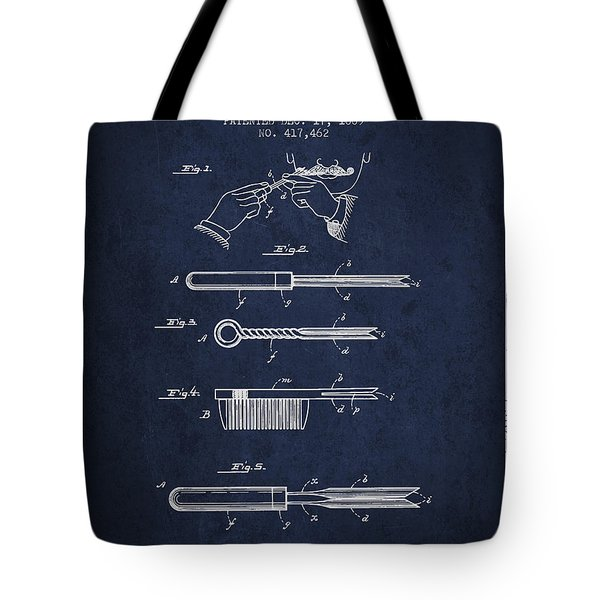 Curling Tongs Patent From 1889 - Navy Blue Tote Bag
