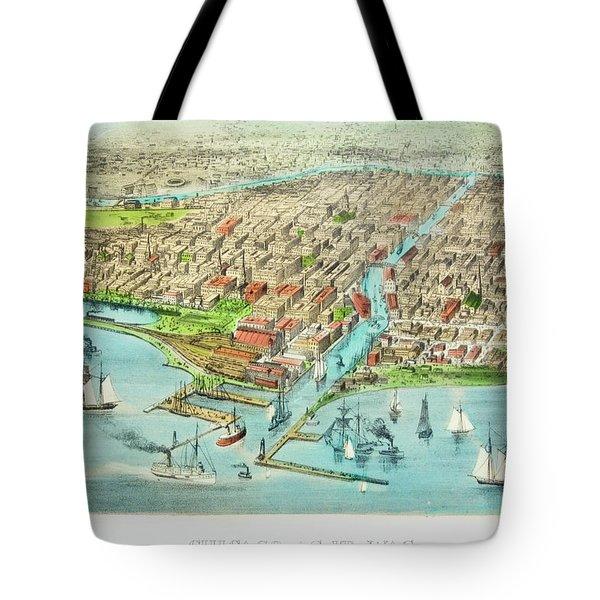 Currier & Ives Illustration Of Chicago Tote Bag