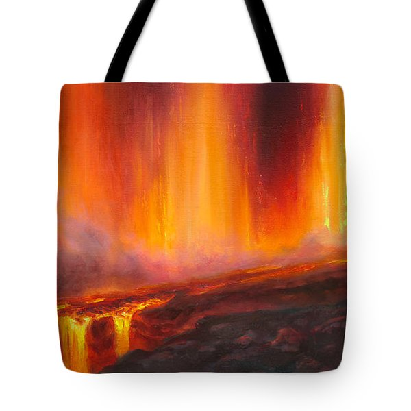 Erupting Kilauea Volcano On The Big Island Of Hawaii - Lava Curtain Tote Bag