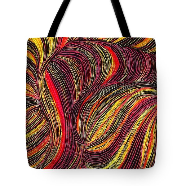 Curved Lines 3 Tote Bag by Sarah Loft