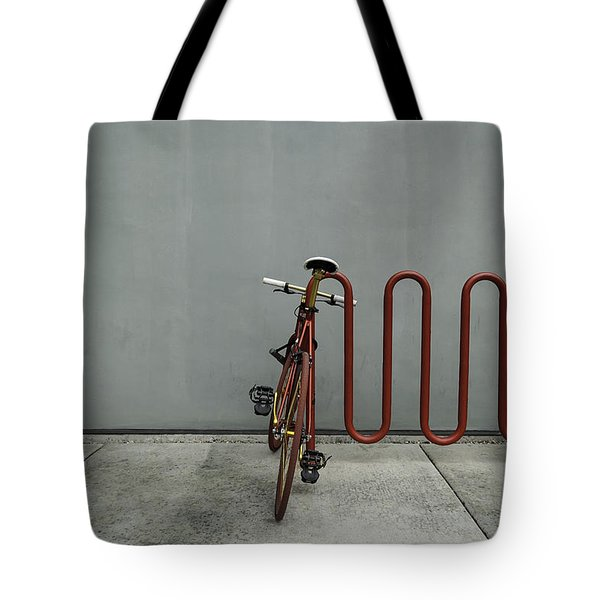 Curved Rack In Red - Urban Parking Stalls Tote Bag