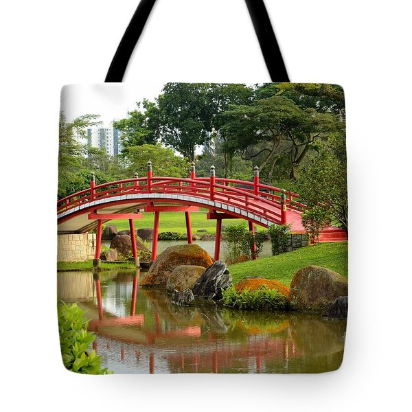 Curved Red Japanese Bridge And Stream Chinese Gardens Singapore Tote Bag