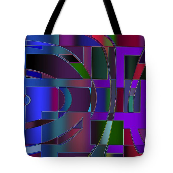 Tote Bag featuring the digital art Curves And Trapezoids 2 by Judi Suni Hall