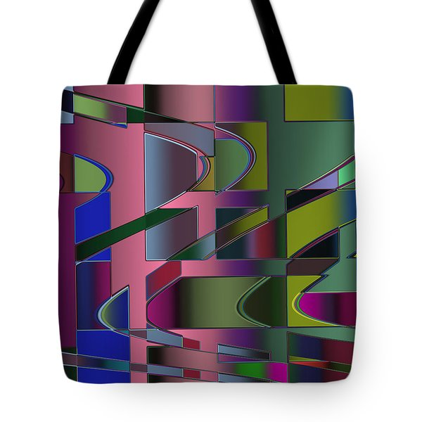 Tote Bag featuring the digital art Curves And Trapezoids 3 by Judi Suni Hall