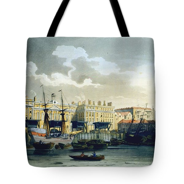 Custom House From The River Thames Tote Bag by T. & Pugin, A.C. Rowlandson