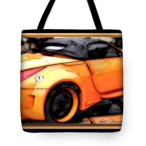 Custom Orange Sports Car Tote Bag