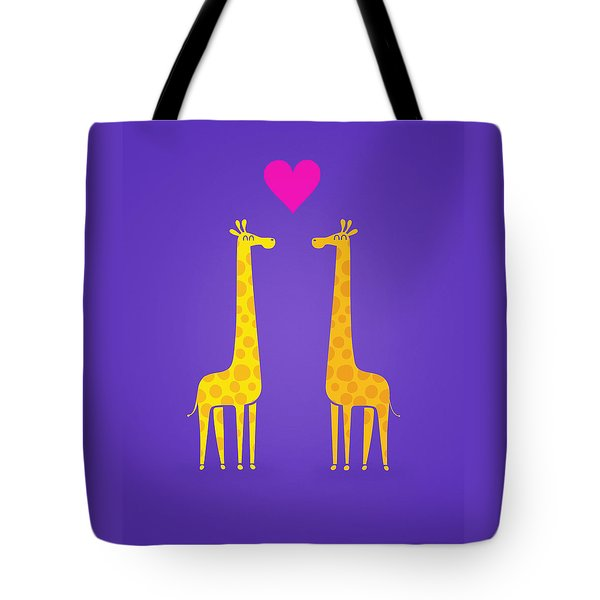Cute Cartoon Giraffe Couple In Love Purple Edition Tote Bag