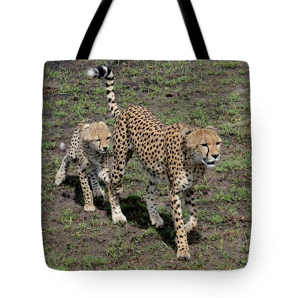 Tote Bag featuring the photograph Cute Cheetah Wait For Me Mommy by Tom Wurl