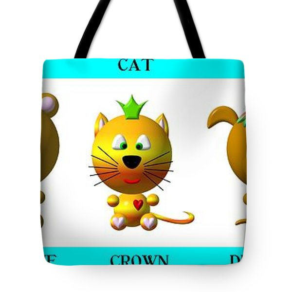 Cute Critters With Heart A To E In Blue Tote Bag by Rose Santuci-Sofranko