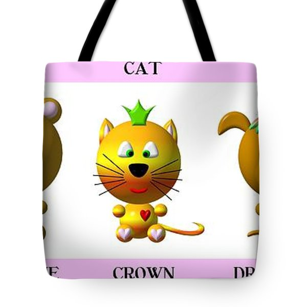 Cute Critters With Heart A To E In Pink Tote Bag by Rose Santuci-Sofranko
