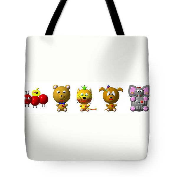 Cute Critters With Heart A To E Tote Bag by Rose Santuci-Sofranko