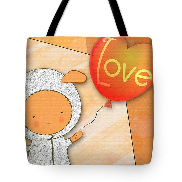 Tote Bag featuring the photograph Cute Lots Of Love Love You Cute Character Holding A Love Balloons  by Lenny Carter