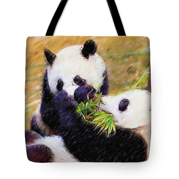 Cute Pandas Play Together Tote Bag by Lanjee Chee