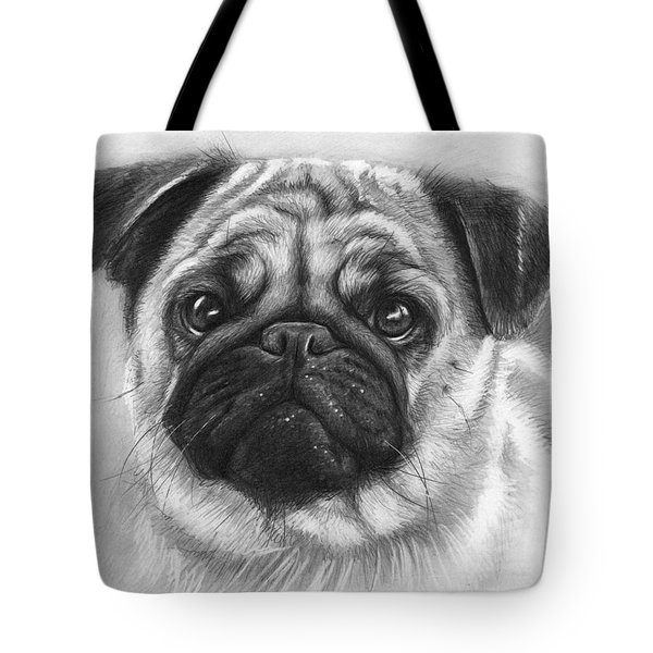 Cute Pug Tote Bag by Olga Shvartsur
