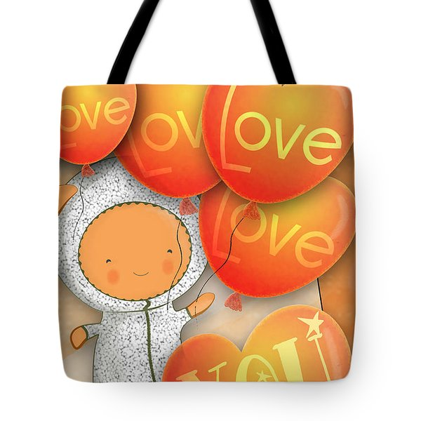 Tote Bag featuring the photograph Cute Teddy With Lots Of Love Balloons by Lenny Carter