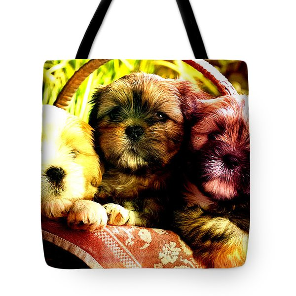 Cute Terrier Puppies Tote Bag by Marvin Blaine
