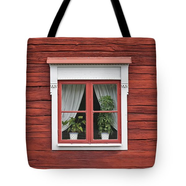 Cute Window On Red Wall Tote Bag