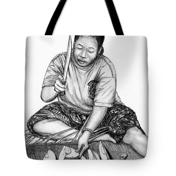Tote Bag featuring the drawing Cutting Breadfruit by Lew Davis
