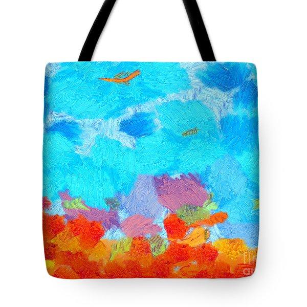 Cyan Landscape Tote Bag by Pixel Chimp
