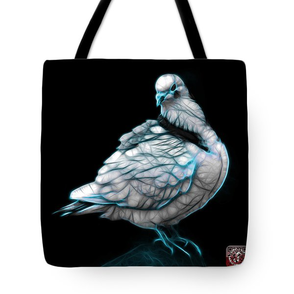 Tote Bag featuring the digital art Cyan Pigeon Pop Art 5516 - Fs - Bb -  Modern Animal Artist James by James Ahn