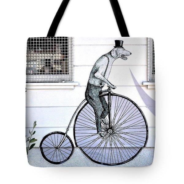 Cycling Dog Tote Bag