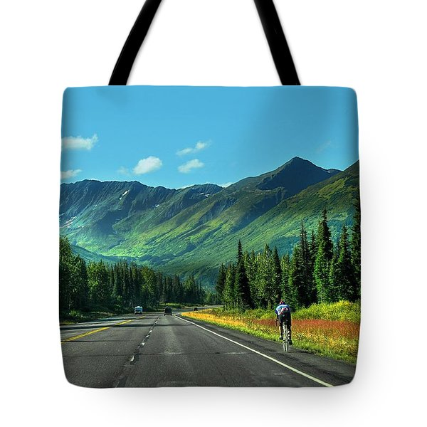 Cycling In Denali   Tote Bag