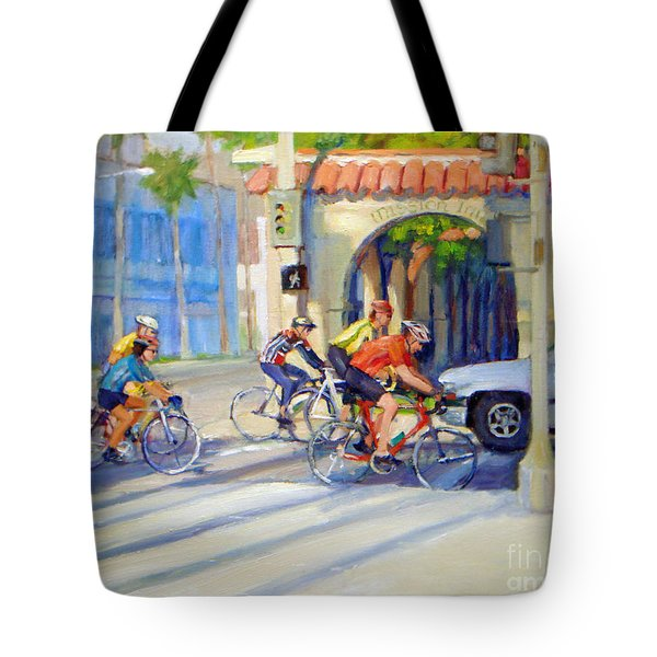 Cycling Past The Archway Tote Bag