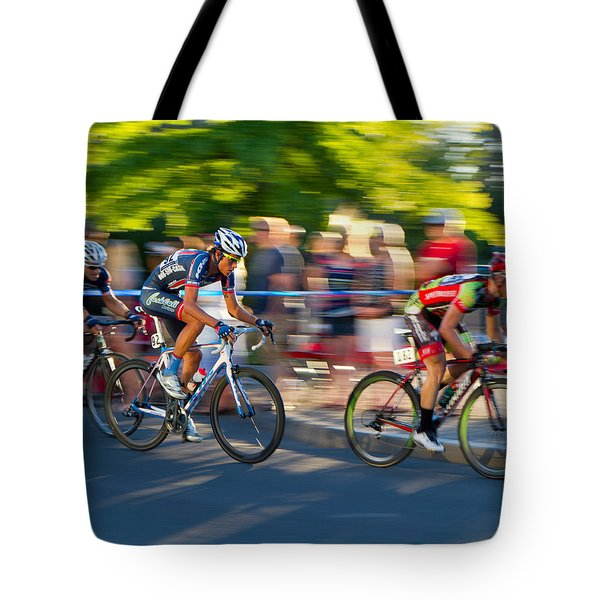 Tote Bag featuring the photograph Cycling Pursuit by Kevin Desrosiers