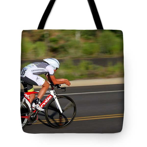 Tote Bag featuring the photograph Cycling Time Trial by Kevin Desrosiers